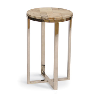 Petrified Wood And Stainless Steel Drink Table Part 74