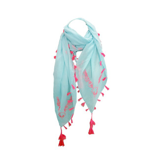Blue & Pink Embroidered Scarf with Tassels