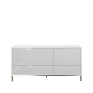 White Lacquered Six Drawer Dresser