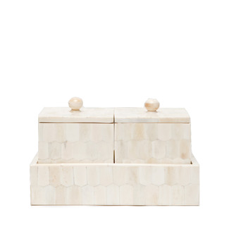 Set of 2 Camel Bone Square Boxes with Tray