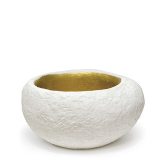 White & Golden Stonecast Planter