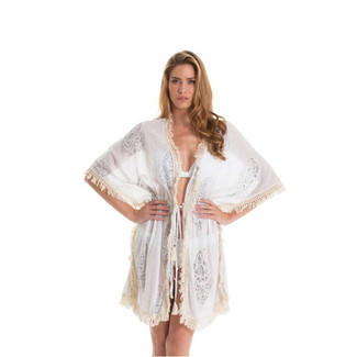 Top Tunic TIe Front Butterfly Ivory and grey