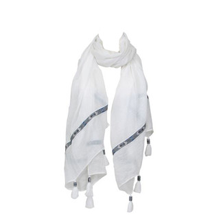 White Ribbon Tassel Scarf