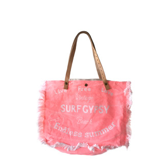 Bright Pink Playa de Ibiza Fringe Vacation Bag