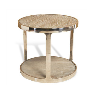 Elm and Steel Round Drink Table