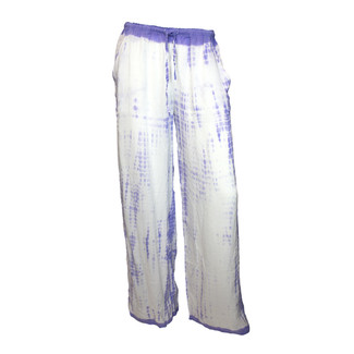 White and Purple Tie Dye Wide Leg Pants