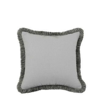 Mist Grey Fringed Pillow