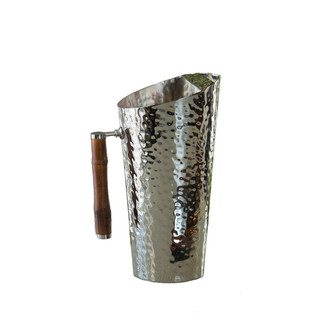 Polished Nickel and Bamboo Pitcher