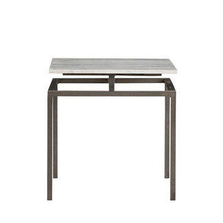 Iron Side Table with White Marble Top
