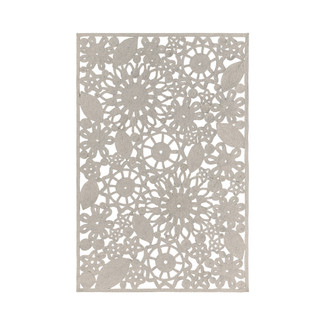 Ivory Floral Pattern Outdoor Rug