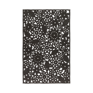 Black Floral Pattern Outdoor Rug