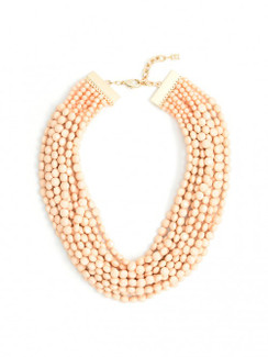 Multi Strand Beaded Necklace - Peach