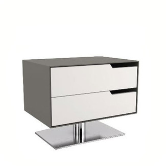 Contemporary Gray on White Nightstand
