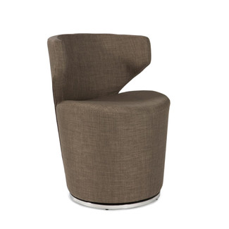 Contemporary Charcoal Barrel Shaped Swivel Chair