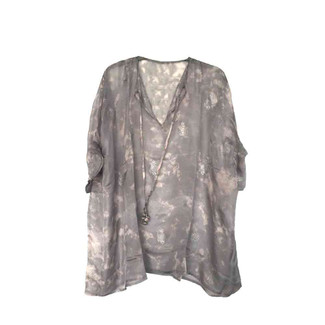 Grey and Pink Short Kaftan