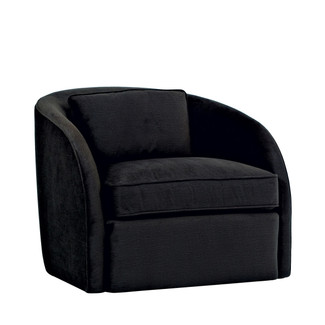 Upholstered Black Swivel Armchair