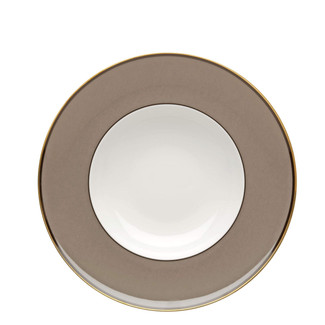 TAUPE & GOLD SOUP PLATE