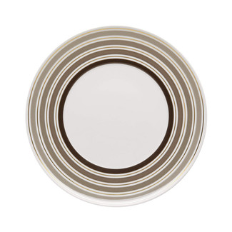 TAUPE & GOLD CONCENTRIC RINGS DINNER PLATE - Set of 4