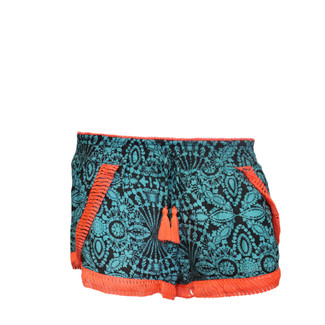 TURQUOISE/NEON ORANGE FRINGE TRIM SHORTS