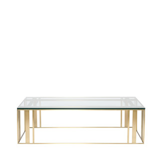 Satin Brass and Glass Rectangle Cocktail Table