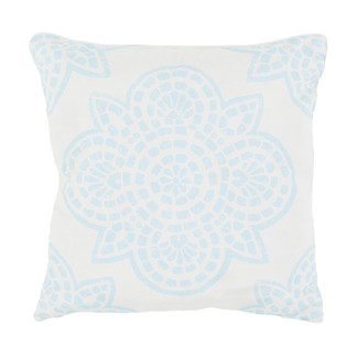 TEAL & IVORY WOVEN POLYESTER PILLOW 20x20