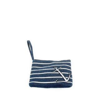 Navy and Ivory Stripe Anchor Wristlet