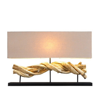 LARGE VINE Sculpture Lamp w/Rectangular Lamp Shade