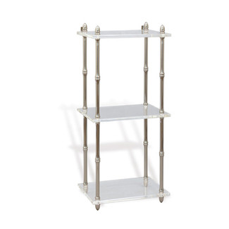 Nickel Lucite Accent Shelf with Bamboo Turnings