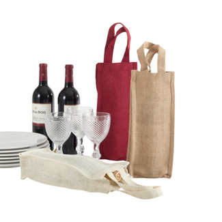 Natural Jute Wine Tote - Tall