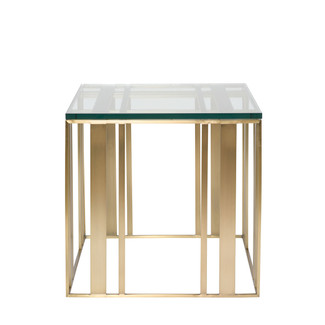 Satin Brass and Glass Side Table