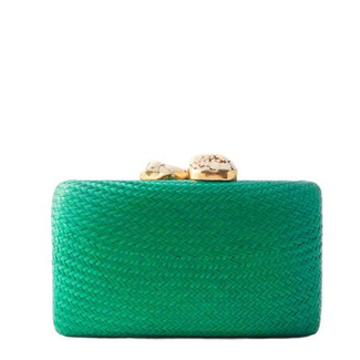 Green Straw Clutch