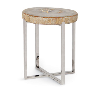 Petrified Wood and Stainless Steel Accent Table