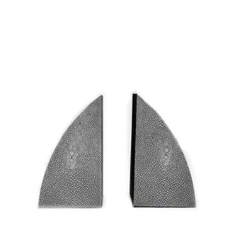 Worton Curved Faux Shagreen Bookends