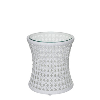 White Woven Side Table