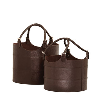 Nested Espresso Leather Buckets- Set of 2