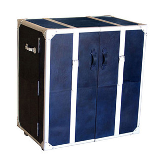 Blue & White Leather Steam Trunk Bar