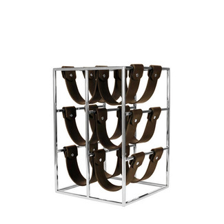Polished Metal Leather Wine Rack
