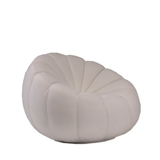 Pouf Tufted Ivory Swivel Chair