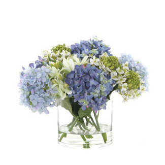 Hydrangea Flower Arrangement in Cylindrical Vase