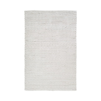 Luxurious Ivory Cable Knit Wool Shag Rug