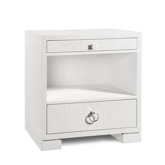 Frances 2-Drawer White Grasscloth Side Table