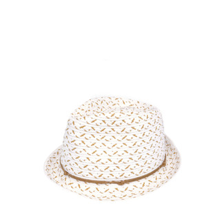White Woven Fedora with White Trim