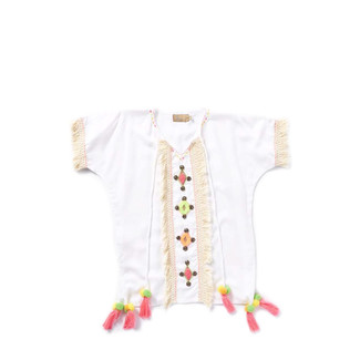 Kids Ibiza White Short Kaftan