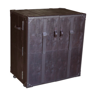 Brown Croco Leather Steam Trunk Bar