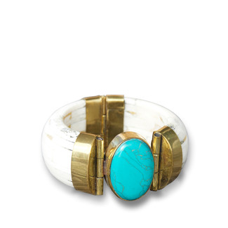 Bone Bangle with Turquoise