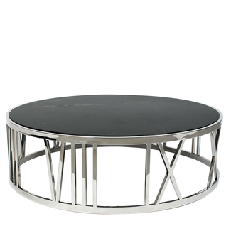 Round Black Marble & Polished Stainless Steel Coffee Table