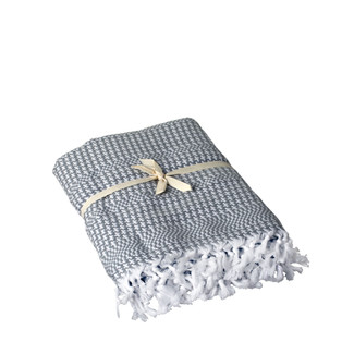 Pied de Coq Bath Towel - Grey/White