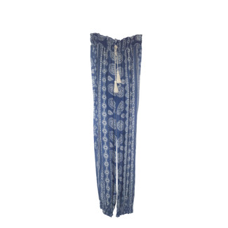 BLUE & WHITE PATTERN TIE STRING PANTS