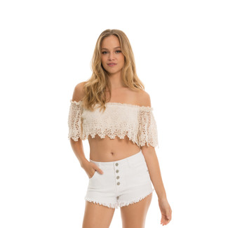 Fringe Bottom Shorts with 4 Buttons