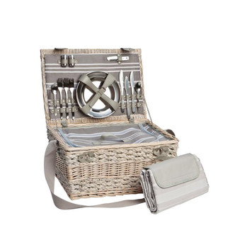 DELUXE IVORY PICNIC BASKET FOR 6